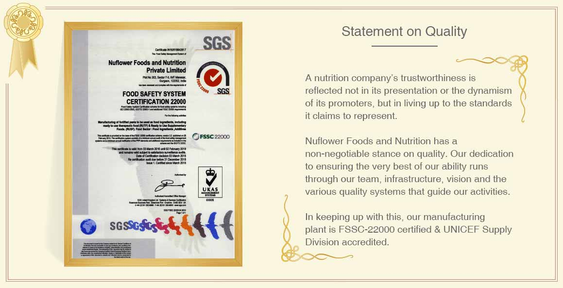 Statement on Quality - Therapeutic food for malnutrition treatment